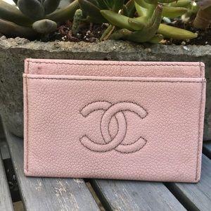Chanel pink caviar card case